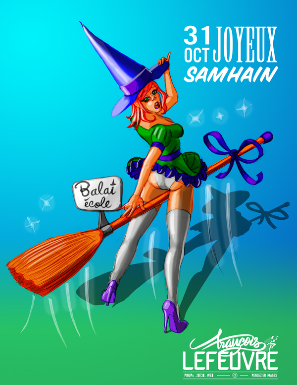 Pinup Samhain fête celtique illustration